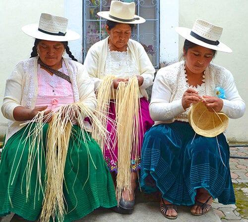 a group of panama hat weavers from Ecuador - Pachacuti UK