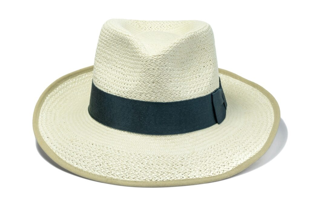 Men's_trilby_panama_hat_with_steel_grey_ribbon_and_tan_cotton_trim