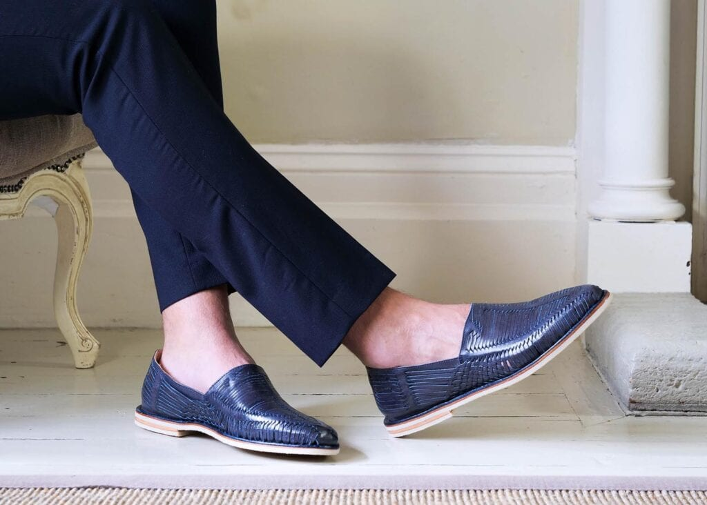 Man wearing casual blue leather loafer