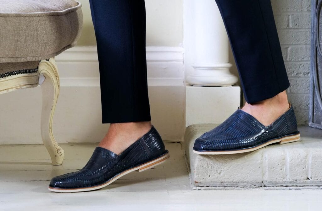 walking in comfortable leather navy loafers