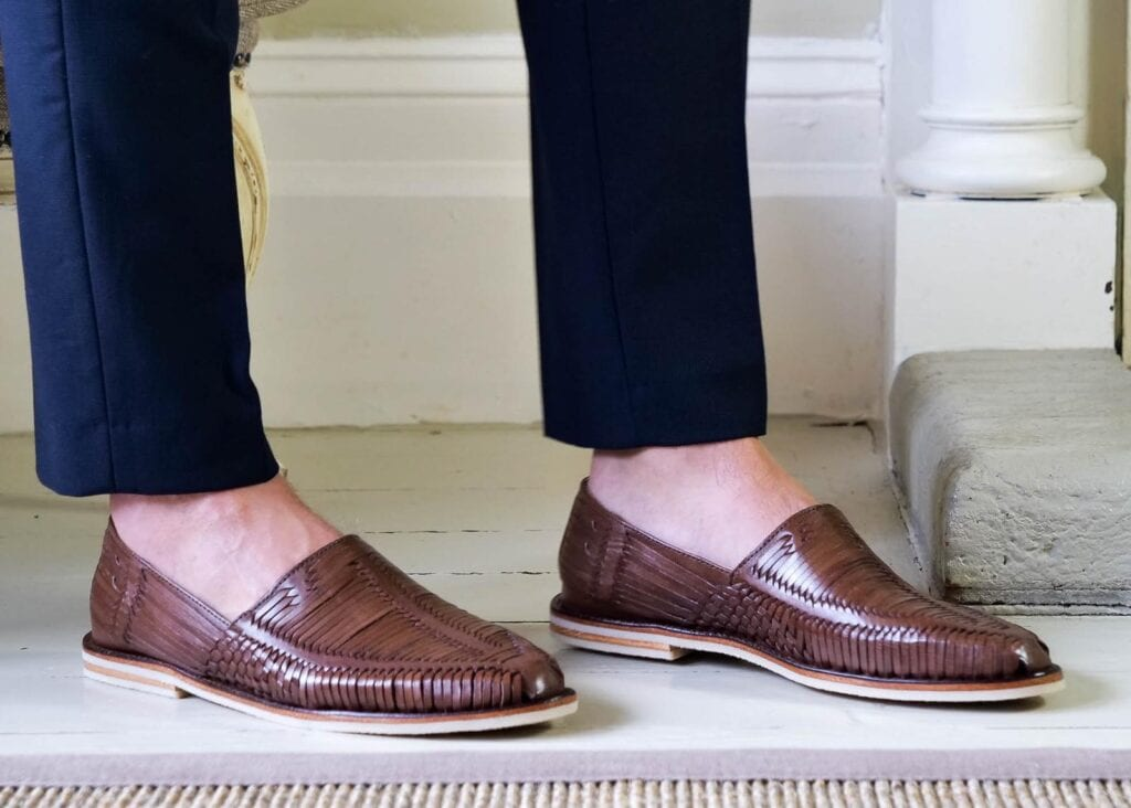 Man wearing brown loafers