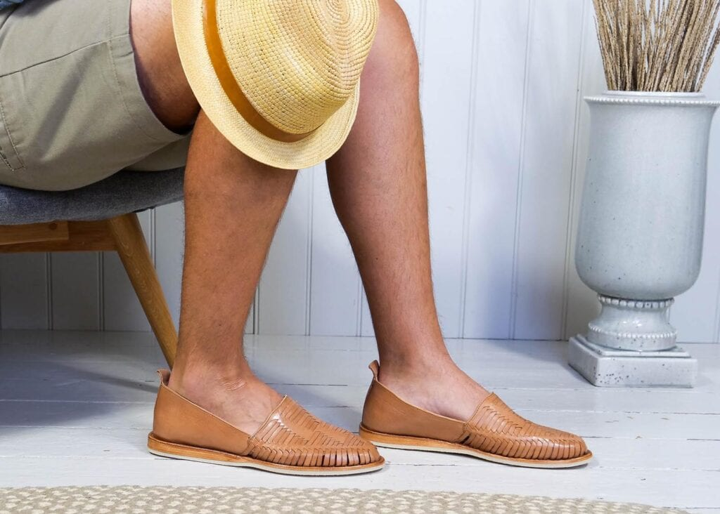 Man wears a rubber sole, soled slip on loafer