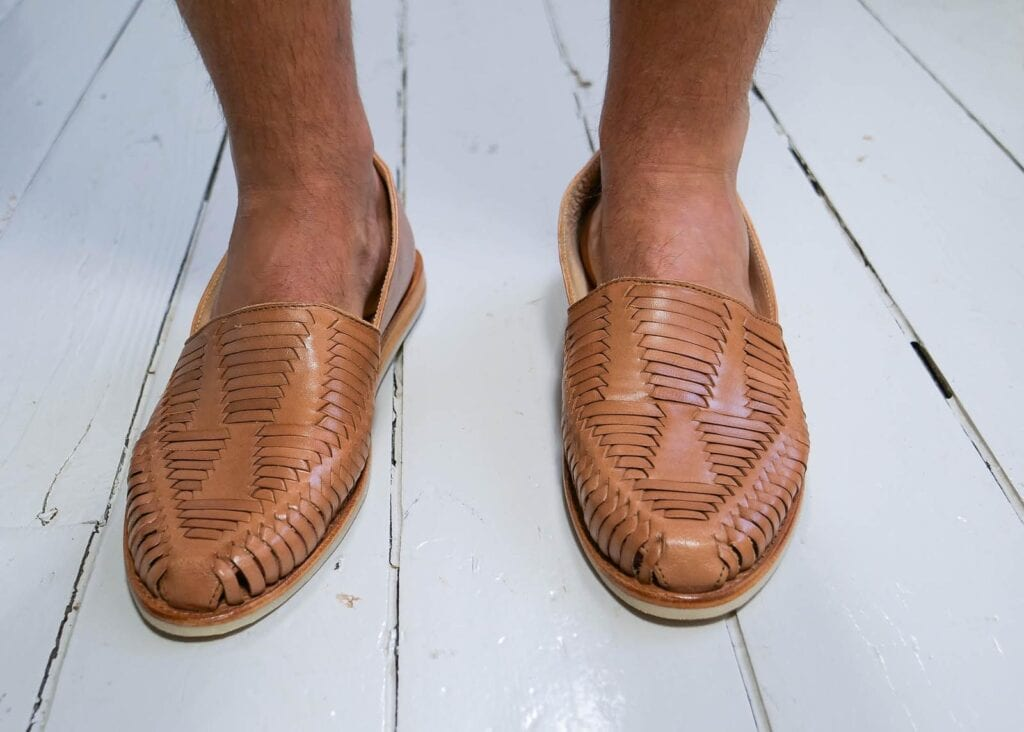 Image showing woven pattern of leather slip-on loafer