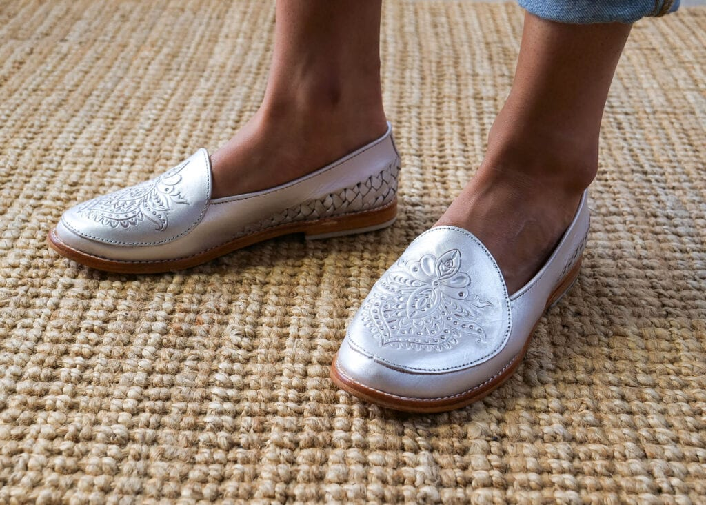 Slip-on silver loafers for women